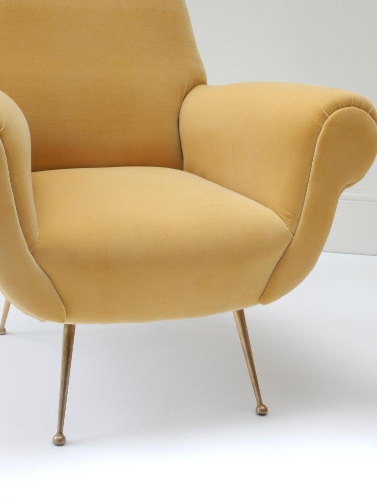 Pair of Italian Mid-Century Modern Style Armchairs in Yellow Velvet For Sale 2