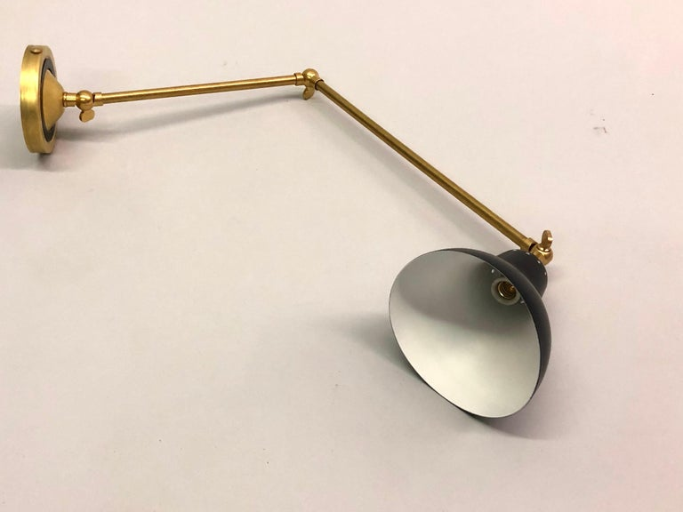 Pair of Italian Mid-Century Modern Style Brass Articulating Sconces, Arredoluce  For Sale 7
