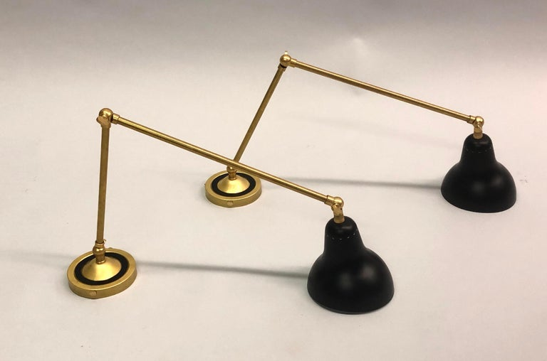 Enameled Pair of Italian Mid-Century Modern Style Brass Articulating Sconces, Arredoluce  For Sale