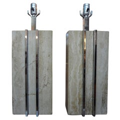 Pair of Italian Mid-Century Modern Travertine and Chrome Lamps