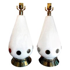 Pair of Italian Mid-Century Modern White Porcelain and Brass Lamps