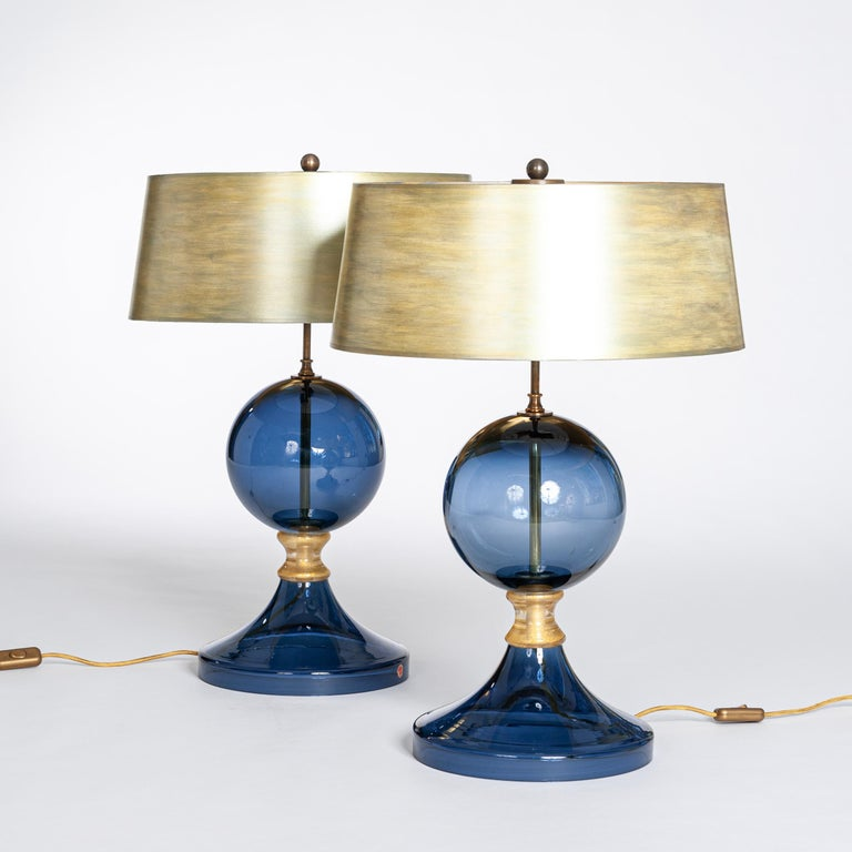 Mid-Century Modern Pair of Italian Mid-Century Murano Glass Table Lamps Blue-Gold Colored For Sale