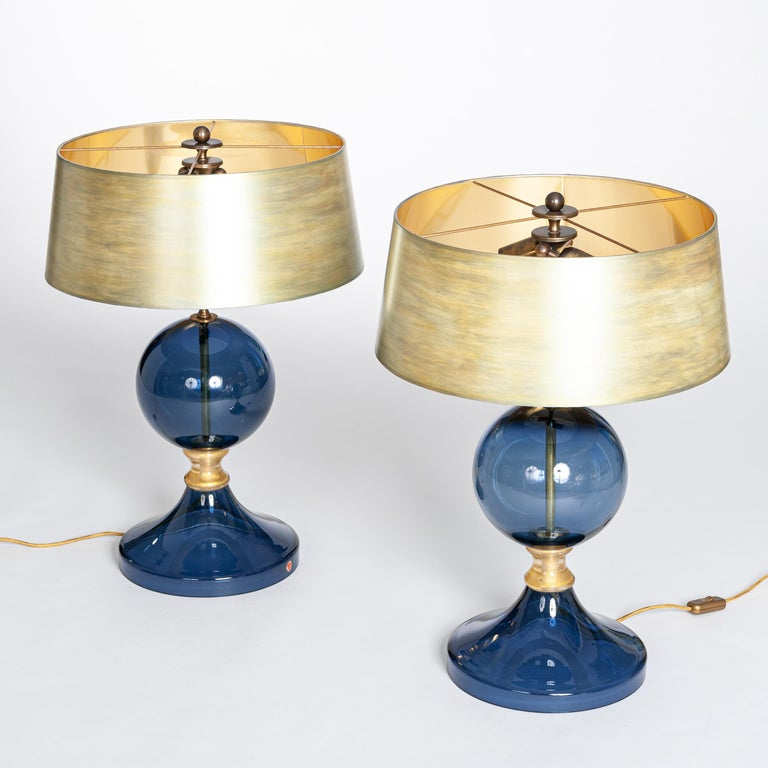 Hand-Crafted Pair of Italian Mid-Century Murano Glass Table Lamps Blue-Gold Colored For Sale