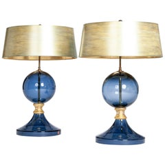 Pair of Italian Mid-Century Murano Glass Table Lamps Blue-Gold Colored