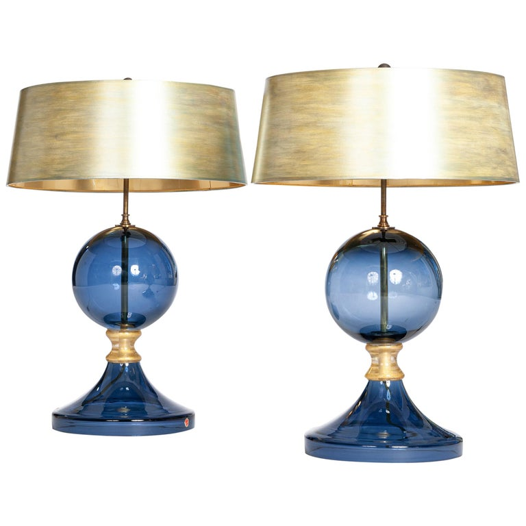 Pair of Italian Mid-Century Murano Glass Table Lamps Blue-Gold Colored For Sale