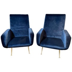 Pair of Italian Midcentury Navy Upholstered Armchairs by Ico Parasi