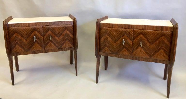 Mid-Century Modern Pair of Italian Midcentury Nightstands/End Tables Attributed to Osvaldo Borsani For Sale
