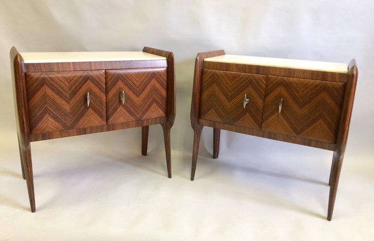 Inlay Pair of Italian Midcentury Nightstands/End Tables Attributed to Osvaldo Borsani For Sale
