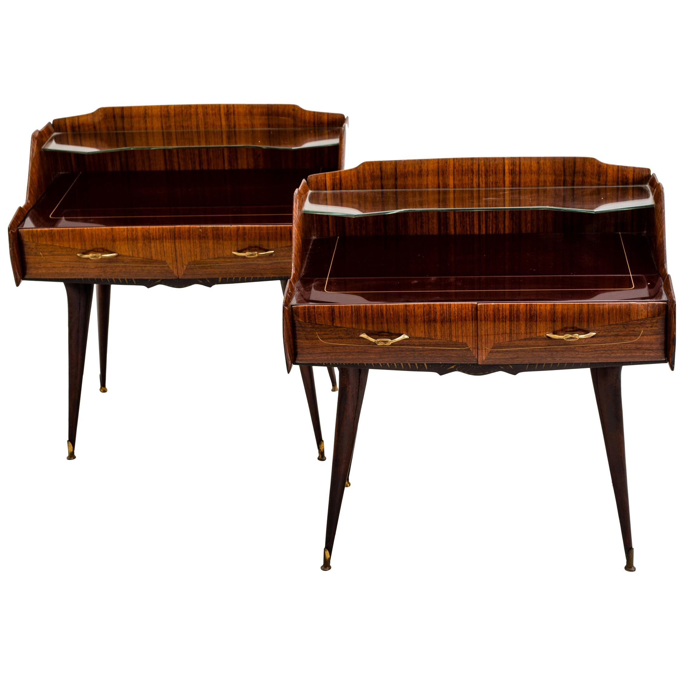 Pair of Italian Midcentury Nightstands in the Style of Paolo Buffa, circa 1950s
