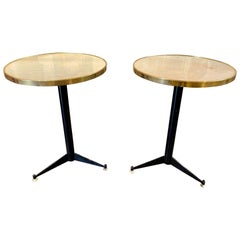 Pair of Italian Mid-Century Painted Steel and Brass Side Tables with Onyx Tops