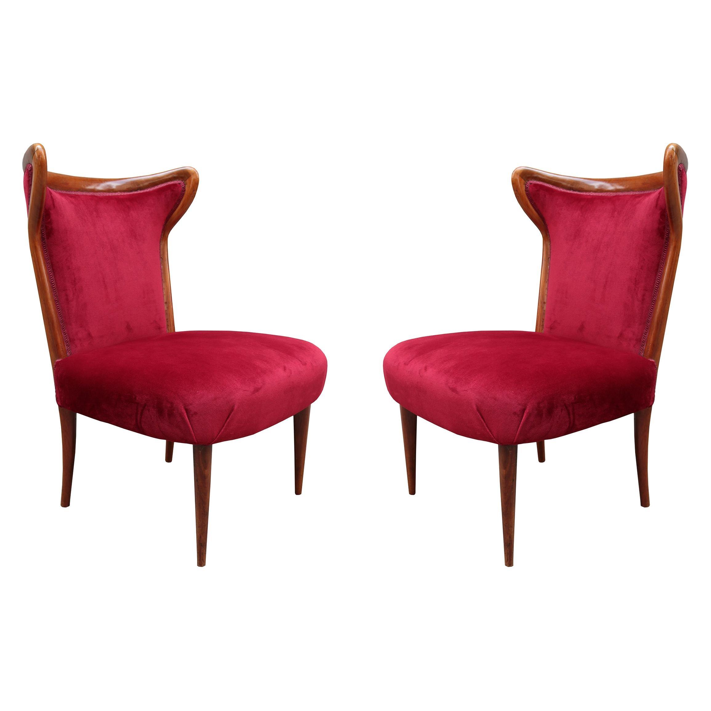 Pair of Italian Midcentury Pull Up Chairs
