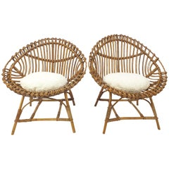 Pair of Italian Mid Century Rattan and Bamboo Lounge Chairs, 1960's