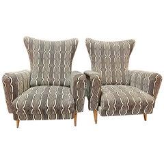 Pair of Italian Mid Century Reclining Armchairs