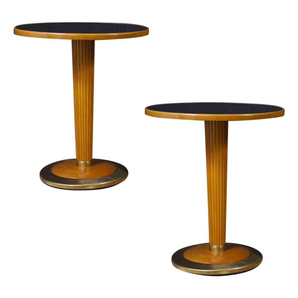 Pair of Italian Midcentury Side Tables with Black Mirror Top, 1950