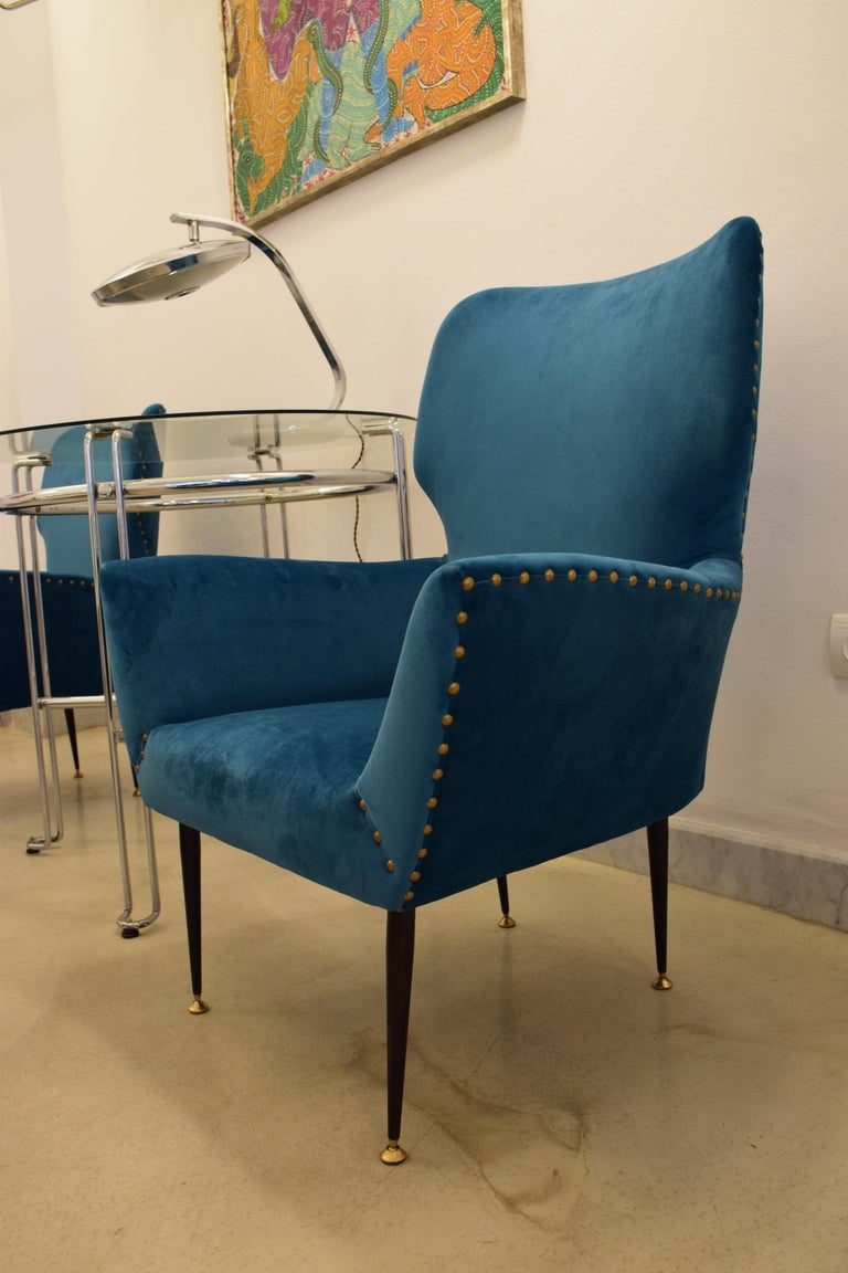 Pair of Italian Mid-Century Vintage Armchairs, 1950s For Sale 9