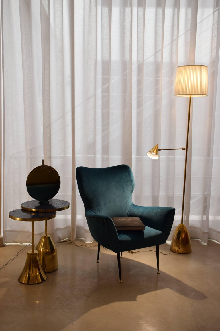 Lacquered Pair of Italian Mid-Century Vintage Armchairs, 1950s For Sale
