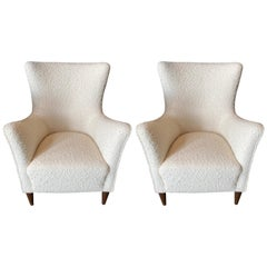 Pair of Italian Mid-Century Wingback Chairs in Creamy White Boucle