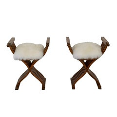 Pair of Italian Midcentury X Form Benches/Stools