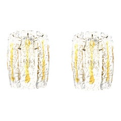 Pair of Italian Midcentury Amber Clear Murano Wall Sconces by Mazzega, 1970s