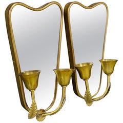 Pair of Italian Midcentury Applique with Mirror in Brass, 1950s