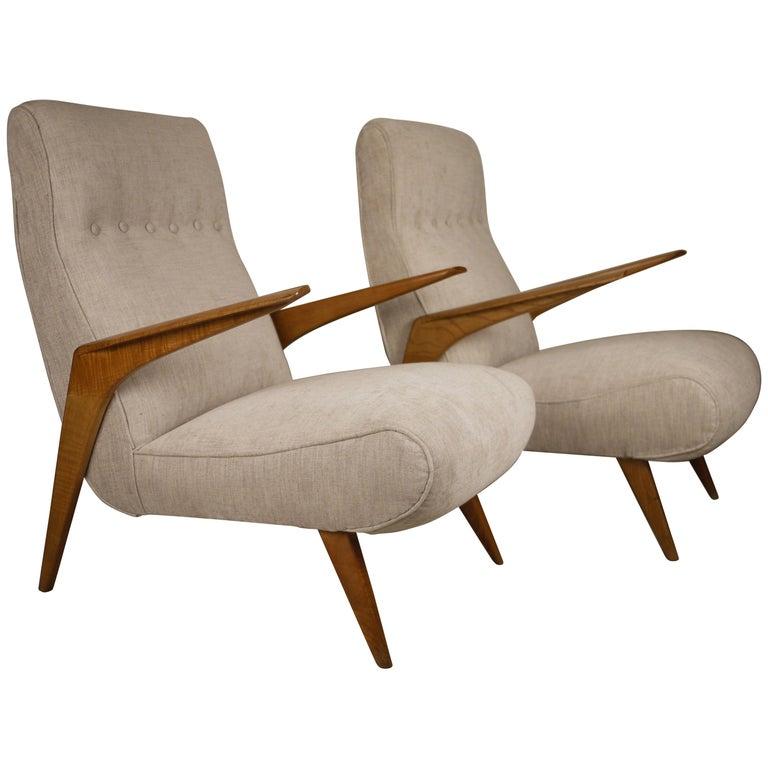Pair of Italian Midcentury Armchairs, 1950 For Sale