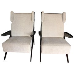 Pair of Italian Midcentury Armchairs '1950' Solid Oak and Ivory Chenille Velvet