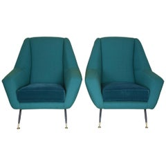 Pair of Italian Midcentury Armchairs Attributed to Gigi Radice, 1950s