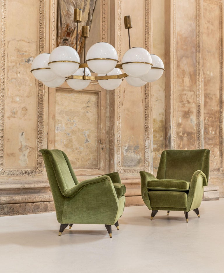 Mid-Century Modern Pair of Italian Midcentury Armchairs by Isa For Sale