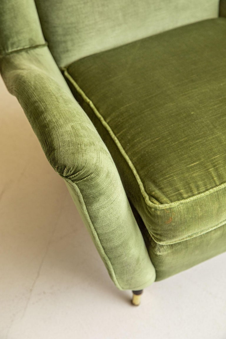 Fabric Pair of Italian Midcentury Armchairs by Isa For Sale