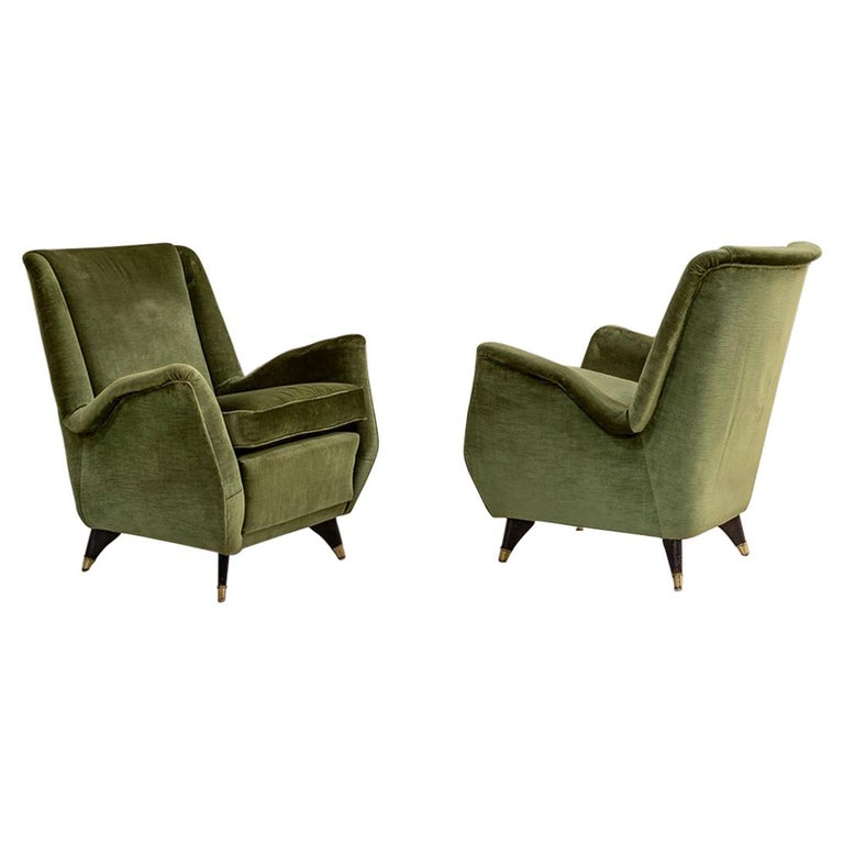 Pair of Italian Midcentury Armchairs by Isa For Sale