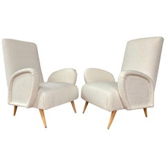 Pair of Italian Midcentury Armchairs Gio Ponti Club Chairs Ivory Bouclette