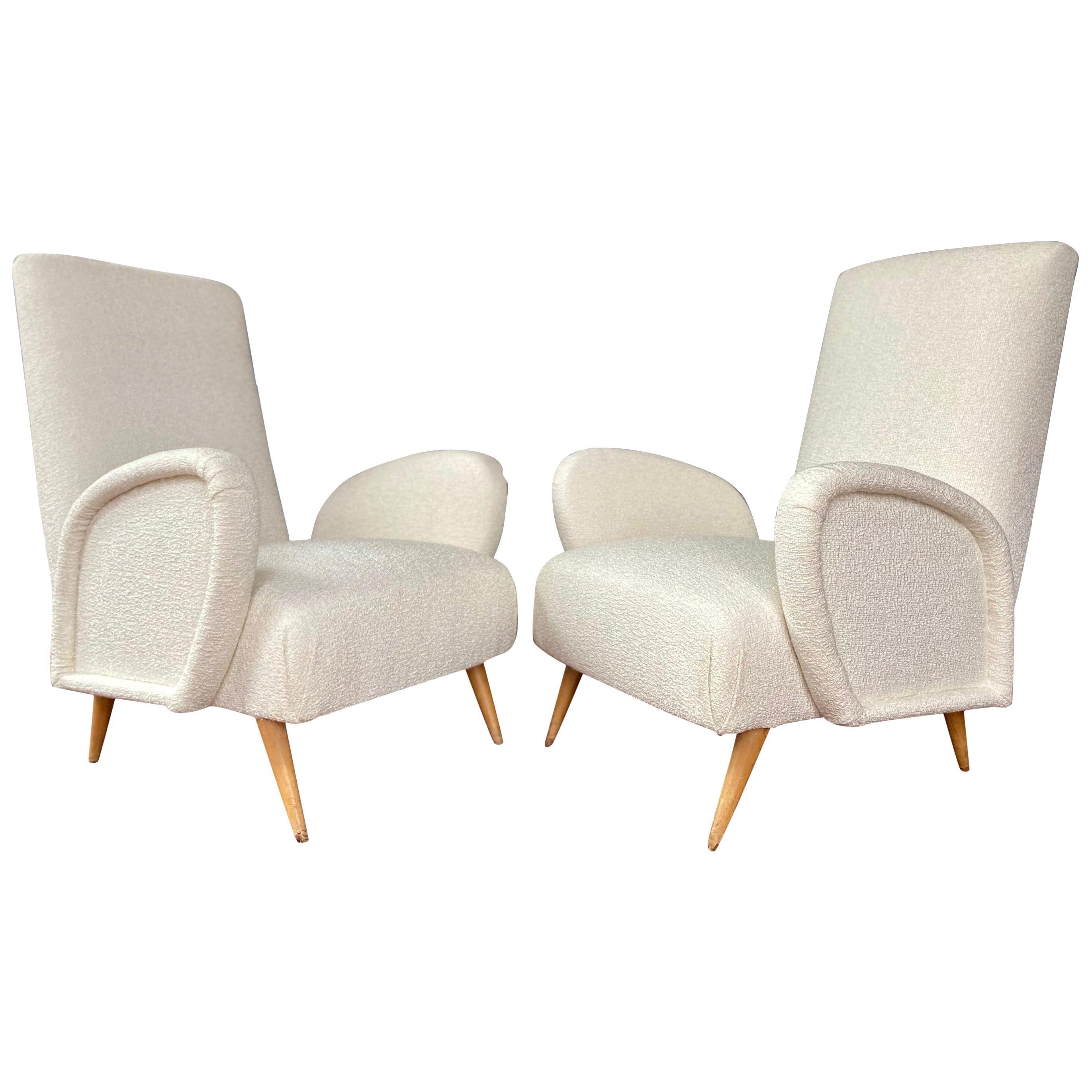 Pair of Italian Midcentury Armchairs Gio Ponti Club Chairs Ivory Bouclette