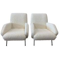 Pair of Italian Midcentury Armchairs by Gio Ponti in Cream Sheepskin