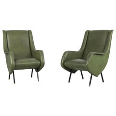 Pair of Italian Midcentury Armchairs in Original Green Fauxleather, 1950s