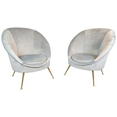 Pair of Italian Midcentury Armchairs, New Upholstery
