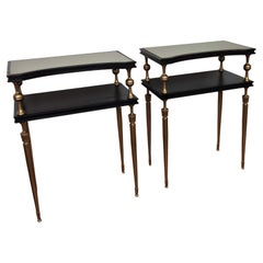 Pair of Italian Midcentury Art Deco Night Stands End Sidetables Brass Glass Wood