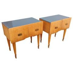 Pair of Italian Midcentury Art Deco Nightstands Bedside Tables Maple & Glass Top