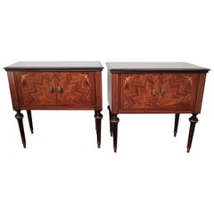 Pair of Italian Midcentury Art Deco Nightstands Bedside Tables Walnut Glass Top