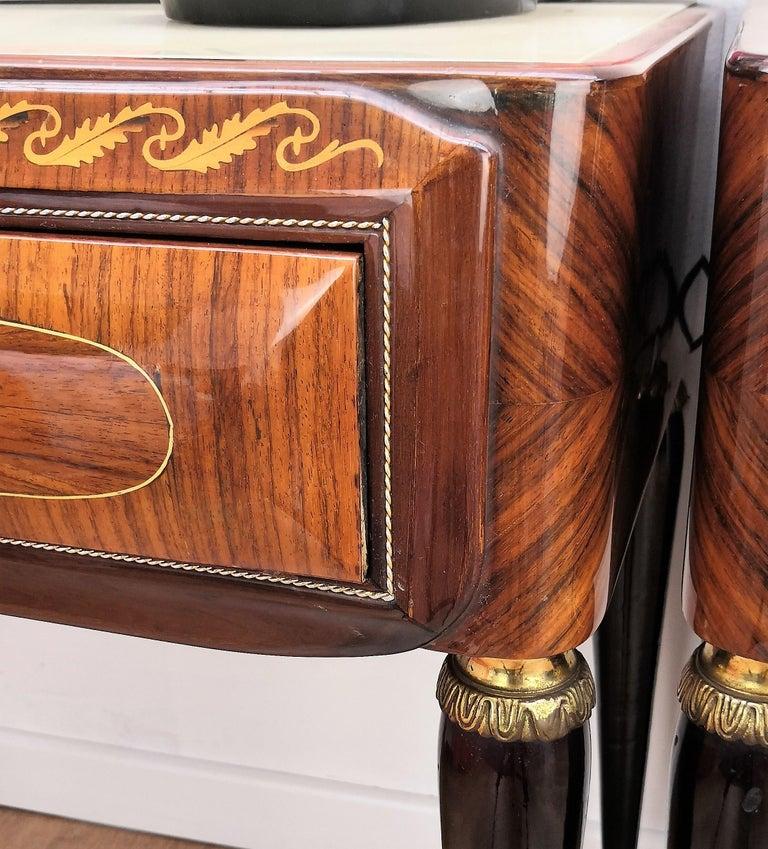 20th Century Pair of Italian Midcentury Art Deco Nightstands Bedside Tables Walnut Glass Top