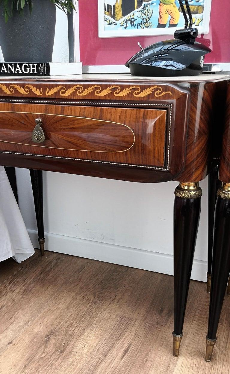 Pair of Italian Midcentury Art Deco Nightstands Bedside Tables Walnut Glass Top 1