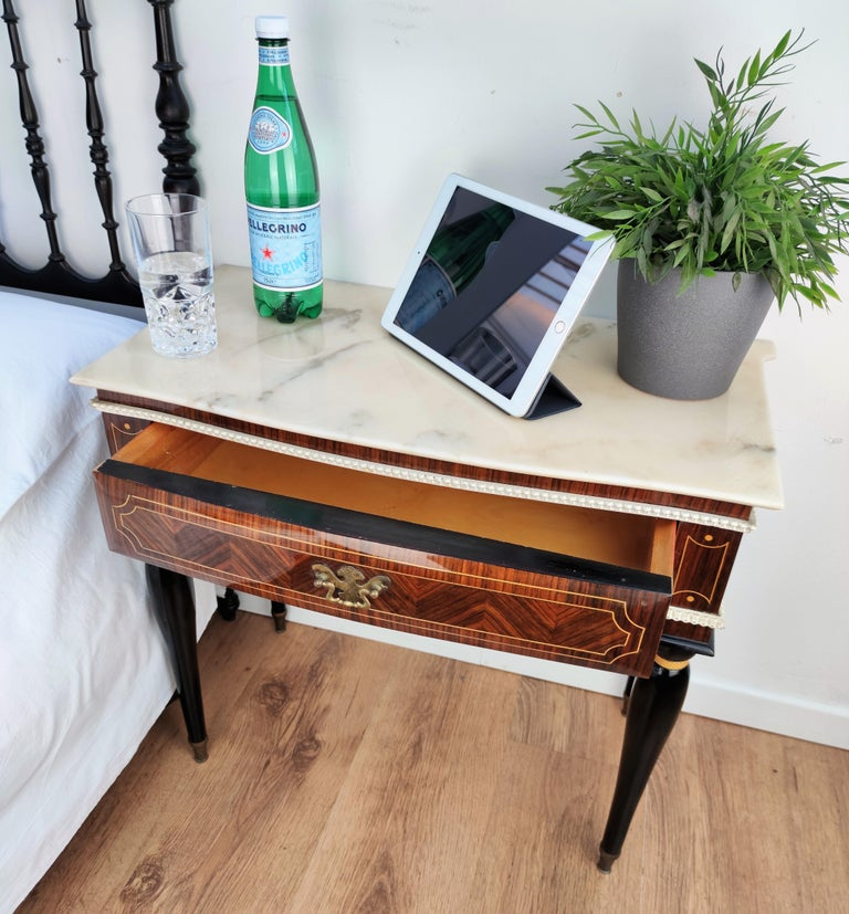 20th Century Pair of Italian Midcentury Art Deco Nightstands Bedside Tables Walnut Marble