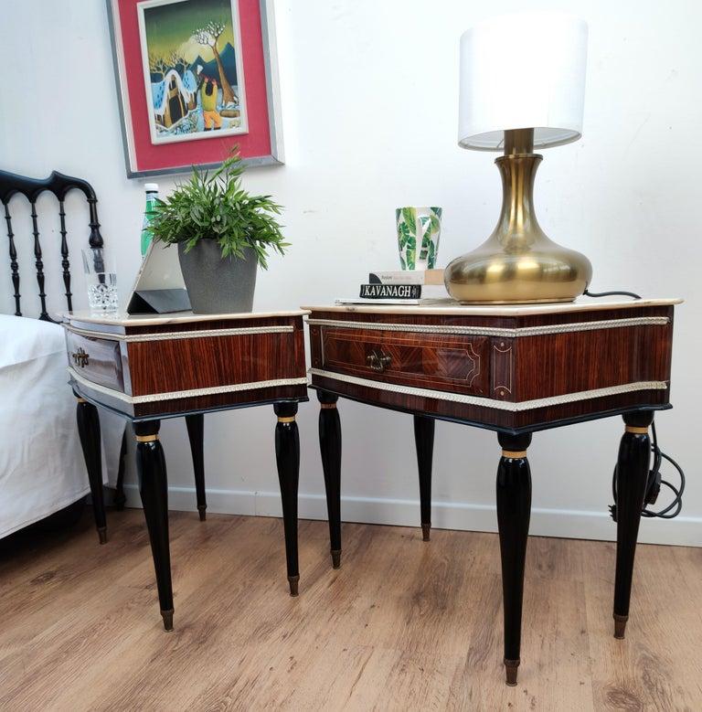 Pair of Italian Midcentury Art Deco Nightstands Bedside Tables Walnut Marble 2