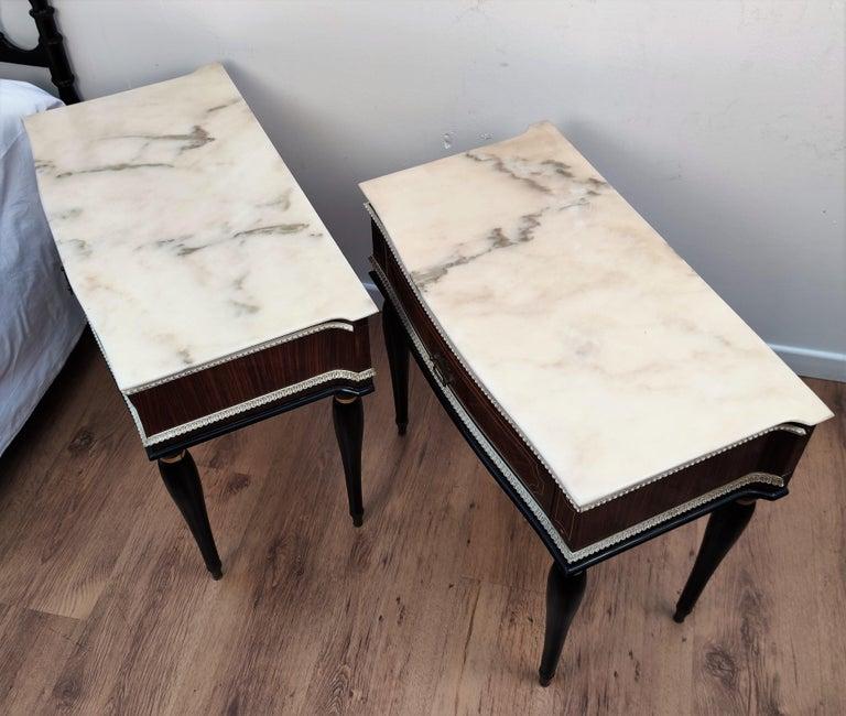 Pair of Italian Midcentury Art Deco Nightstands Bedside Tables Walnut Marble 3