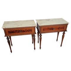 Pair of Italian Midcentury Art Deco Nightstands Bedside Tables Walnut Marble