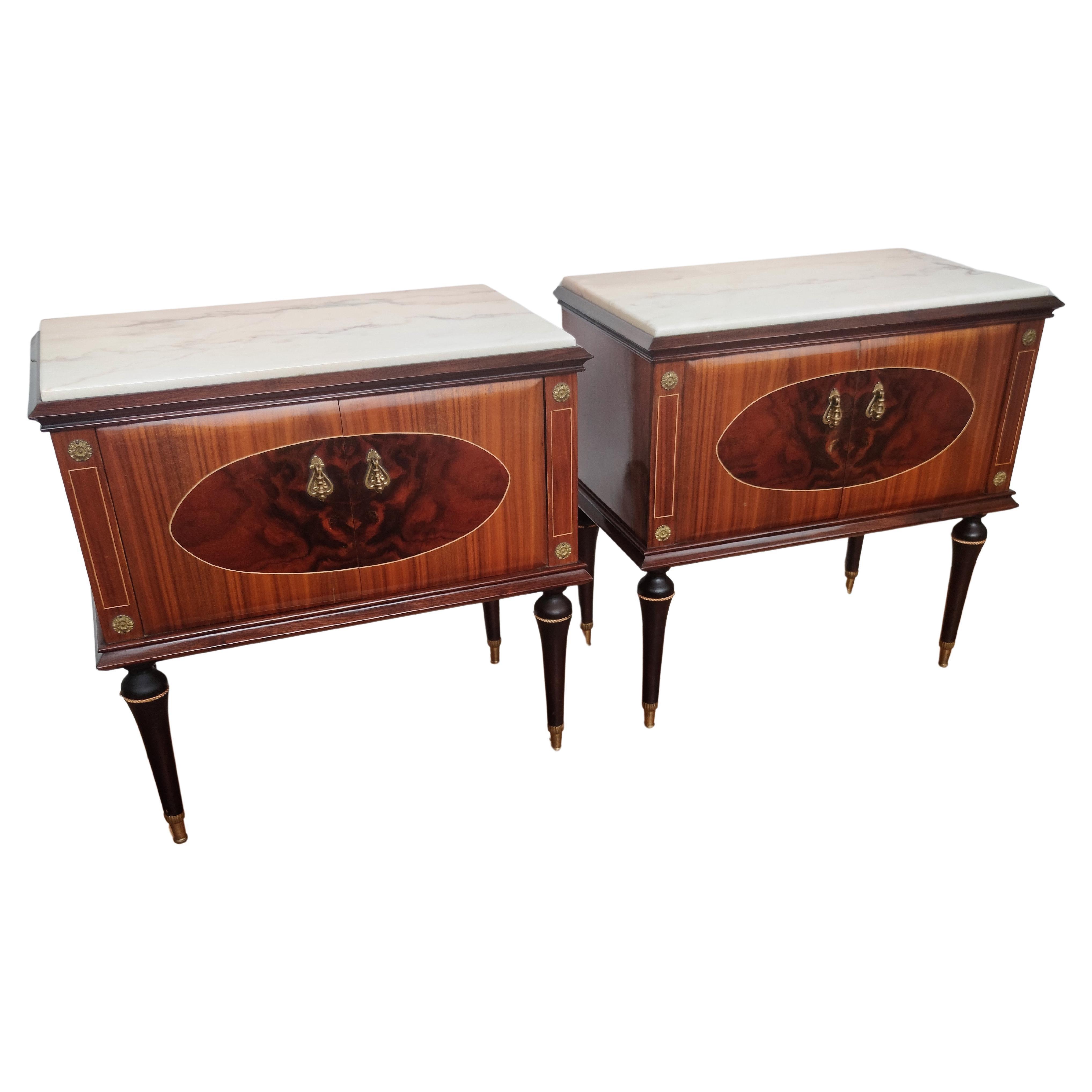 Pair of Italian Midcentury Art Deco Nightstands Bedside Tables Walnut Marble Top
