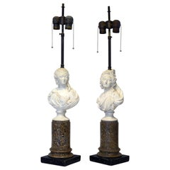 Pair of Italian Midcentury Borghese Column and Bust Table Lamps