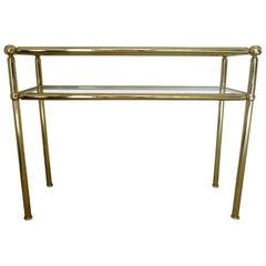 Pair of Italian Midcentury Brass Console Table, Italy, 1950s