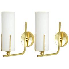 Pair of Italian Midcentury Brass Wall Lights, 1960s