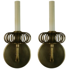 Pair of Italian Midcentury Brass Wire Sconces