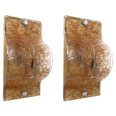 Pair of Italian Midcentury Caramel Color Murano Wall Sconces by Mazzega, 1970s